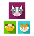 muzzles of animals flat icons in set collection vector image vector image