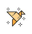 origami bird paper application crane flat color vector image vector image