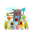 party animals cats mouse rainbow vector image