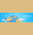 plane flying over world map tourism concept vector image