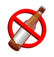 prohibition signs with alcohol beer drink bottle vector image vector image