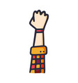 raised hand showing a fist a symbol strength vector image