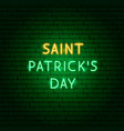 saint patricks day neon text vector image