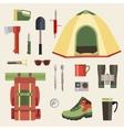 set camping equipment symbols icons and tools vector image