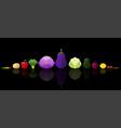 set fresh vegetables on dark background vector image vector image
