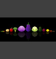 set of fresh vegetables on dark background vector image vector image