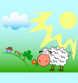 sheep on the field vector image