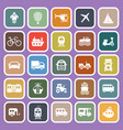 vehicle flat icons on purple background vector image vector image