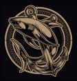 vintage drawing shark anchor circle gold on black vector image