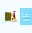 woman student cup standing stack of book hold vector image