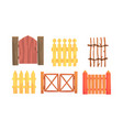 wooden fences hedges collection countryside vector image