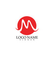 m letter wave logo template vector image