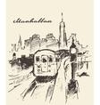 Tram Manhattan New York drawn sketch vector image