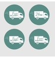 Set of icons with the delivery car of goods on vector image