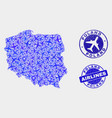 airflight composition poland map and grunge vector image vector image