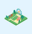 amusement park isometric art flat design vector image