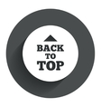 Back to top arrow sign icon Scroll up symbol vector image vector image