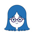 beauty girl face avatar wear glasses and blue hair vector image