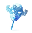 Blue ornate full face carnival mask with handle vector image vector image