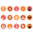 brown halloween round button icons set vector image vector image