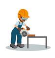 carpenter cutting a plank with circular vector image vector image