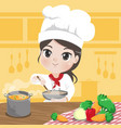 chef girl is cooking vector image vector image