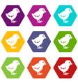 chick icon set color hexahedron vector image vector image