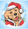 christmas dog santa claus animal vector image vector image