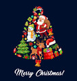 christmas jingle bell made up of xmas icons vector image vector image