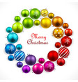 christmas wreath colored balls vector image