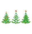 collection three christmas trees on a white vector image