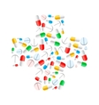 Colourful pills in cross shape isolated on white vector image vector image