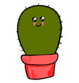 cute cactus in pot on white background vector image vector image