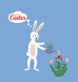 cute easter bunny watering flowers from a watering vector image