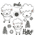 cute set with sheep sun pine trees flowers vector image