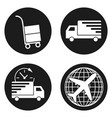 delivery and logistic icons set in circle button vector image vector image