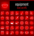 equipment icon set 5 white line icon on red vector image
