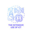 extensive use ict gradient blue concept icon vector image