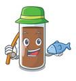 fishing fresh chocolate splash on pouring mascot vector image vector image