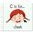Flashcard letter C is for cheek vector image vector image
