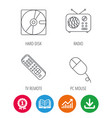 hard disk radio and tv remote icons vector image vector image