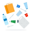 heap plastic waste flat isolated vector image