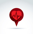 Heartbeat line red medical cardiology icon vector image