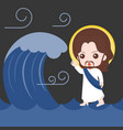 jesus walking on sea and calm down storm vector image vector image