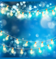 light garlands blue bokeh background eps 10 vector image