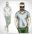 man with skull and beard moustaches vector image vector image