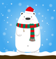 Merry Christmas polar bear wear Santa hat scarf vector image vector image