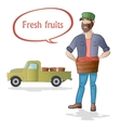 Middle aged man-farmer with box of fruits on white vector image vector image