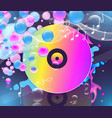 multicolored vinyl record on dark background vector image vector image