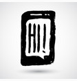 phone with hi sign grunge icon concept hand-drawn vector image